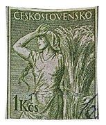 1954 Czechoslovakian Farm Woman Stamp Tapestry