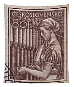1954 Czechoslovakian Textile Worker Stamp Tapestry
