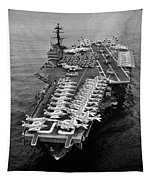 1960s Aerial Of Uss Saratoga Aircraft Tapestry