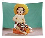 1960s Baby Wearing Cowboy Hat Tapestry