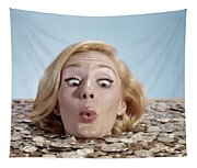 1960s Blond Woman Funny Facial Tapestry