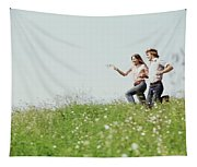 1970s Boy Girl Running Field Tapestry