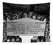 A Marker With Skulls And Bones In The Catacombs Of Paris France Tapestry