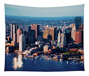 Aerial Morning View Of Boston Skyline Tapestry