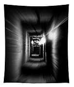 Altered Image Of A Tunnel Leading Out Of The Catacombs In Paris France Tapestry