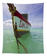 Anchored Colorful Fishing Boat Of Aruba II Tapestry