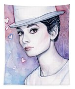 Audrey Hepburn Fashion Watercolor Tapestry