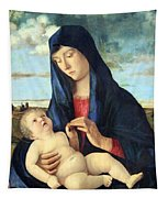 Bellini's Madonna And Child In A Landscape Tapestry