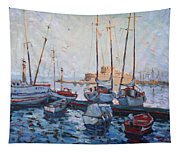 Boats In Rhodes Greece  Tapestry