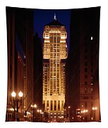 Buildings Lit Up At Night, Chicago Tapestry