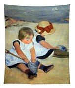 Cassatt's Children Playing On The Beach Tapestry