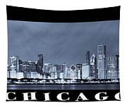 Chicago Skyline At Night Tapestry