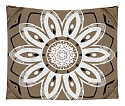 Coffee Flowers 8 Olive Ornate Medallion Tapestry