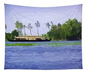 Digital Oil Painting - A Houseboat On Its Quiet Sojourn Through The Backwaters Tapestry
