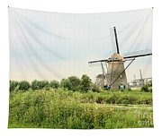 Dutch Landscape With Windmills Tapestry