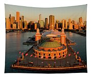 Elevated View Of The Navy Pier Tapestry