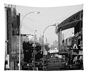 End Of The Line In Black And White Tapestry