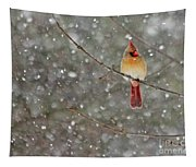 Female Cardinal In Snow Tapestry