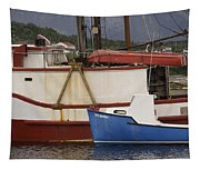 2 Fishing Boats At The Dock Tapestry