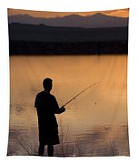 Fly Fishing At Sunset Tapestry