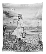 Girl And The Ocean Tapestry