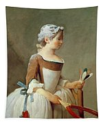 Girl With Racket And Shuttlecock Tapestry