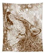 Howling Gray Wolf Tapestry