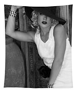 Lady In White Bw Tapestry