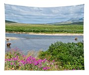 2-lay Of The Land-grizzly Bears In Moraine River In Katmai Np-ak Tapestry
