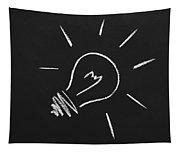 Light Bulb On A Chalkboard Tapestry
