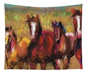 Mares And Foals Tapestry