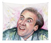 Nicolas Cage You Don't Say Watercolor Portrait Tapestry