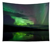 Night Sky Stars Clouds Northern Lights Mirrored Tapestry