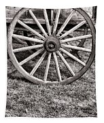 Old Wagon Wheel On Cart Tapestry