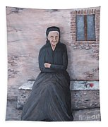 Old Woman Waiting Tapestry