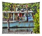 Pelican And Fishing Boat Tapestry