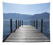 Pier On An Alpine Lake Tapestry