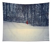 Red Flag On The Snow Covered Golf Course Tapestry