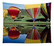 Reflection Of Hot Air Balloons Tapestry