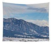 Rocky Mountains Flatirons And Longs Peak Panorama Boulder Tapestry