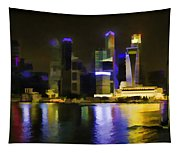 Singapore Skyline As Seen From The Pedestrian Bridge Tapestry
