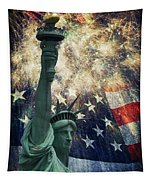 Statue Of Liberty And Fireworks Tapestry
