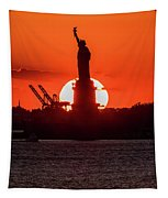 Statue Of Liberty Sunset. Nyc Harbor Tapestry