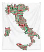 Text Map Of Italy Map Tapestry