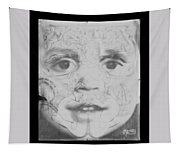 The Face In Black And White Tapestry