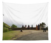 Tourists Posing For Photos Tapestry