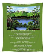 Twin Ponds And 23 Psalm On Green Tapestry