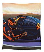 Valentino Rossi On Ducati Tapestry by Paul Meijering