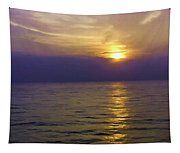 View Of Sunset Through Clouds Tapestry