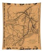 Vintage Train Ad 1887 Tapestry